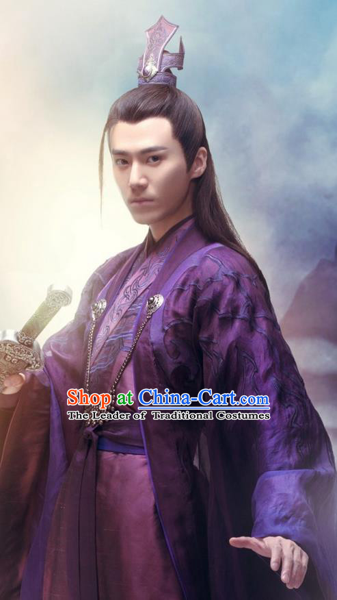 Traditional Ancient Chinese Elegant Swordsman Costume, Chinese Jiang hu Nobility Childe Dress, Cosplay Chinese Television Drama Jade Dynasty Qing Yun Faction KIawaler Hanfu Clothing for Men