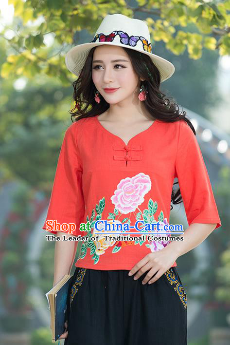 Traditional Chinese National Costume, Elegant Hanfu Embroidery Flowers Orange T-Shirt, China Tang Suit Republic of China Plated Buttons Chirpaur Blouse Cheong-sam Upper Outer Garment Qipao Shirts Clothing for Women