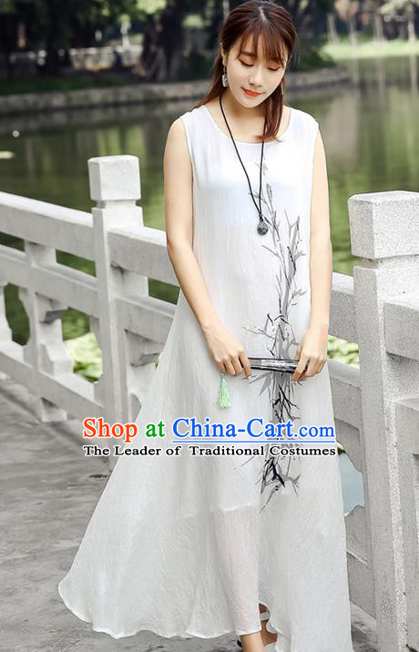 Traditional Ancient Chinese National Costume, Elegant Hanfu Mandarin Qipao Linen Ink Painting Bamboo Dress, China Tang Suit Chirpaur Republic of China Cheongsam Upper Outer Garment Elegant Dress Clothing for Women