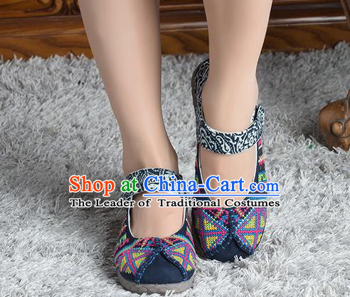 Traditional Chinese Shoes, China Handmade Linen Embroidered Navy Shoes, China Ancient Cloth Shoes for Women