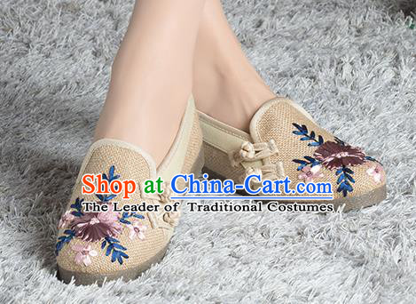 Traditional Chinese Shoes, China Handmade Linen Embroidered Plated Button Brown Shoes, China Ancient Cloth Shoes for Women