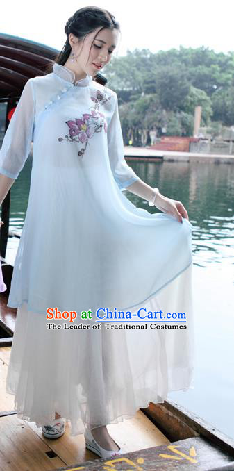 Traditional Ancient Chinese National Costume, Elegant Hanfu Mandarin Qipao Hand Painting Blue Dress, China Tang Suit Mandarin Collar Chirpaur Republic of China Cheongsam Upper Outer Garment Elegant Dress Clothing for Women