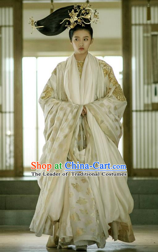 Traditional Ancient Chinese Elegant Imperial Empress Costume, Chinese Ancient Han Dynasty Palace Young Lady Dress, Cosplay Chinese Television Drama Huang Feng Prison Princess Hanfu Trailing Embroidery Clothing for Women