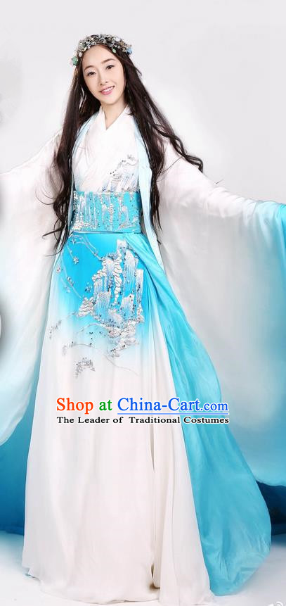 Traditional Ancient Chinese Elegant Palace Lady Costume, Chinese Ancient Han Dynasty Fairy Dress, Cosplay Chinese Television Drama Above The Clouds Imperial Princess Hanfu Trailing Clothing for Women