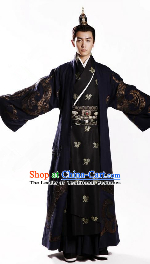 Traditional Chinese Ancient Nobility Childe Costumes, Chinese Ancient Teleplay Above The Clouds Role Swordsmen Robe, Roayl Prince Embroidery Hanfu Clothing for Men