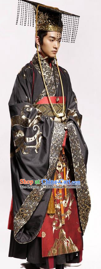 Traditional Chinese Ancient Emperor Costumes and Hat Complete Set, Chinese Teleplay Above The Clouds Role Han Dynasty King Robe, China Majesty Embroidery Hanfu Clothing for Men
