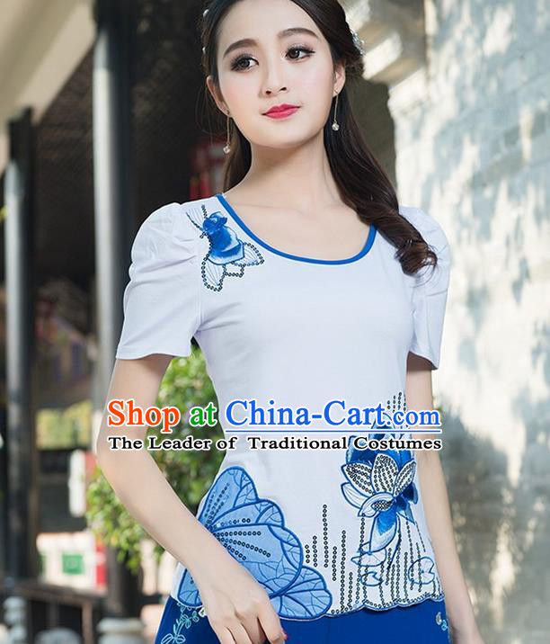 Traditional Chinese National Costume, Elegant Hanfu Embroidery Paillette White T-Shirt, China Tang Suit Republic of China Chirpaur Blouse Cheong-sam Upper Outer Garment Qipao Shirts Clothing for Women