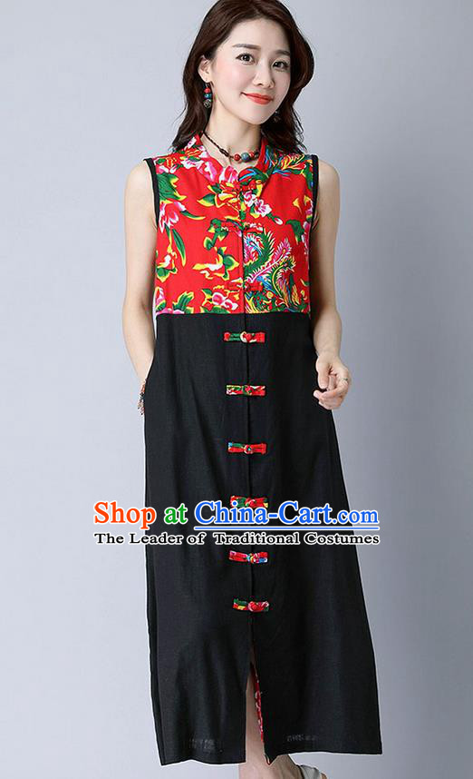 Traditional Ancient Chinese National Costume, Elegant Hanfu Mandarin Qipao Peony Flowers Joint Linen Black Dress, China Tang Suit Chirpaur Republic of China Cheongsam Upper Outer Garment Elegant Dress Clothing for Women