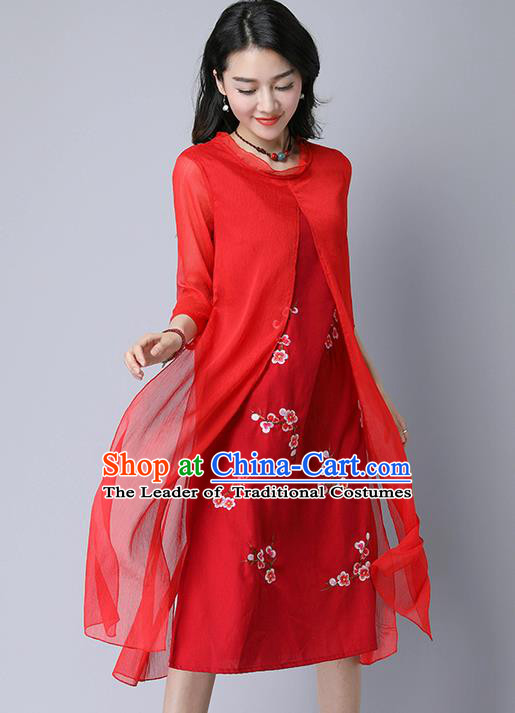 Traditional Ancient Chinese National Costume, Elegant Hanfu Mandarin Qipao Embroidery Red Dress, China Tang Suit Chirpaur Upper Outer Garment Elegant Dress Clothing for Women
