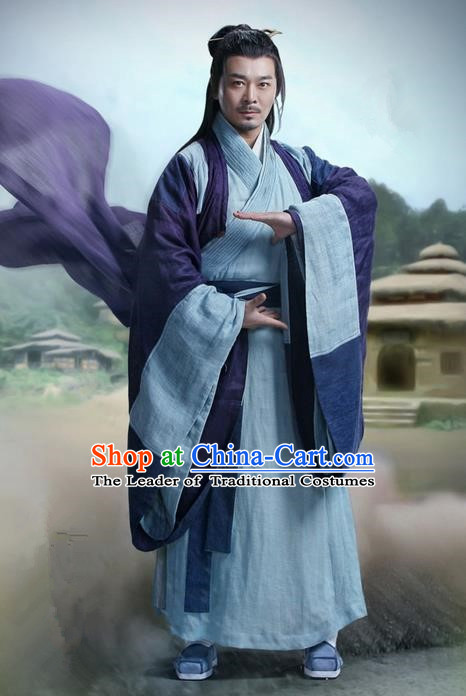 Traditional Ancient Chinese Swordsman Martial Art Costume, Chinese Jiang hu Taoist Priest Dress, Cosplay Chinese Television Drama Jade Dynasty Qing Yun Faction Old Michinaga Hanfu Clothing for Men
