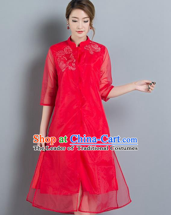 Traditional Ancient Chinese National Costume, Elegant Hanfu Mandarin Qipao Red Embroidery Dress, China Tang Suit Chirpaur Upper Outer Garment Elegant Dress Clothing for Women