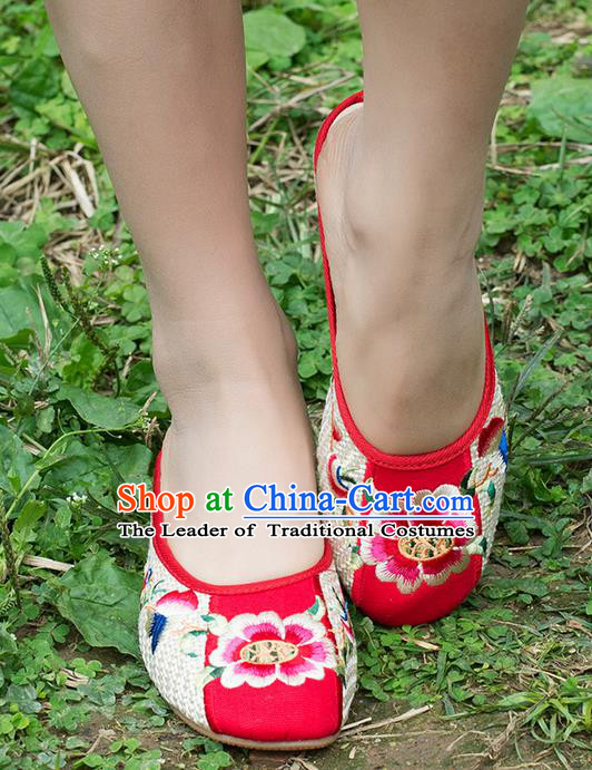 Traditional Chinese Shoes, China Handmade Embroidered Peony Slippers White Shoes, Ancient Princess Linen Shoes for Women