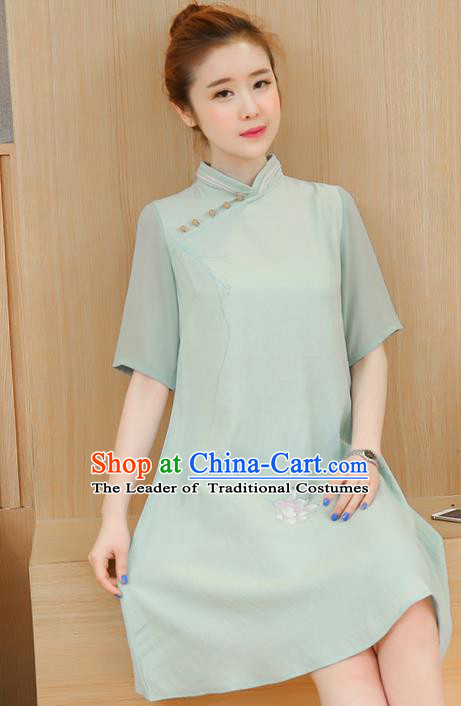 Traditional Ancient Chinese National Costume, Elegant Hanfu Mandarin Qipao Hand Painting Green Dress, China Tang Suit Chirpaur Republic of China Cheongsam Elegant Dress Clothing for Women
