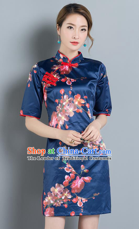 Traditional Ancient Chinese National Costume, Elegant Hanfu Mandarin Qipao Printing Blue Dress, China Tang Suit Chirpaur Republic of China Cheongsam Upper Outer Garment Elegant Dress Clothing for Women