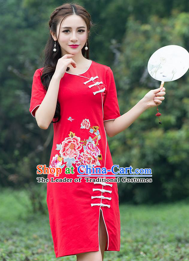 Traditional Ancient Chinese National Costume, Elegant Hanfu Mandarin Qipao Embroidered Red Dress, China Tang Suit Chirpaur Republic of China Cheongsam Elegant Dress Clothing for Women