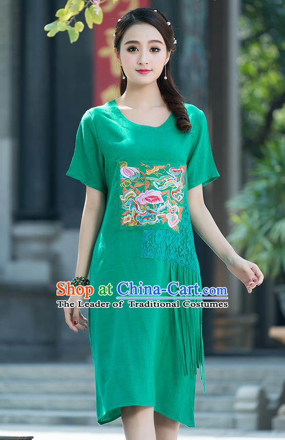 Traditional Ancient Chinese National Costume, Elegant Hanfu Mandarin Qipao Embroidered Lace Green Dress, China Tang Suit Chirpaur Republic of China Cheongsam Elegant Dress Clothing for Women