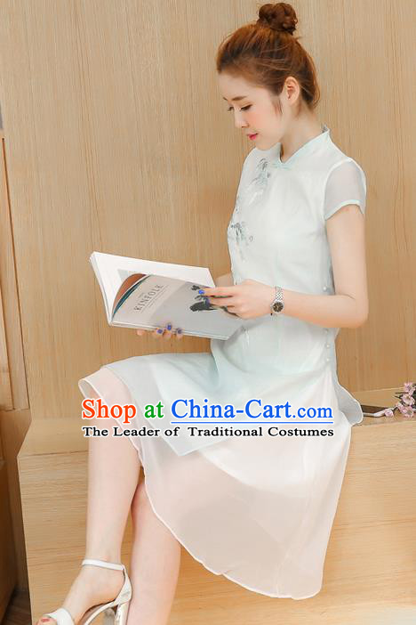Traditional Ancient Chinese National Costume, Elegant Hanfu Mandarin Qipao Embroidered Dress, China Tang Suit Chirpaur Republic of China Cheongsam Elegant Dress Clothing for Women