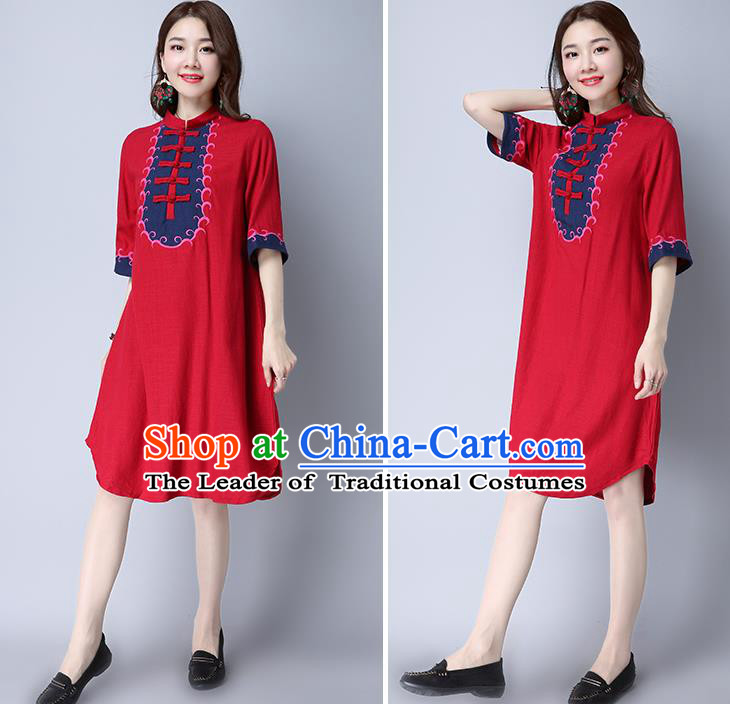 Traditional Ancient Chinese National Costume, Elegant Hanfu Mandarin Qipao Embroidered Red Linen Dress, China Tang Suit Chirpaur Republic of China Cheongsam Elegant Dress Clothing for Women
