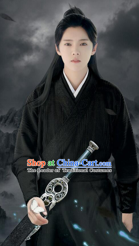 Chinese Ancient Tang Dynasty Swordsman Costume and Headpiece Complete Set, Fighter of the Destiny Traditional Chinese Ancient Kawaler Master Black Clothing for Men