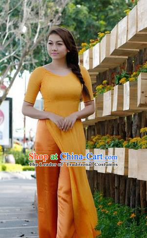 Top Grade Asian Vietnamese Traditional Dress, Vietnam National Dowager Ao Dai Dress, Vietnam Orange Cheongsam and Pants Clothing for Woman