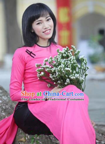 Top Grade Asian Vietnamese Traditional Dress, Vietnam National Dowager Ao Dai Dress, Vietnam Pink Ao Dai Cheongsam Dress and Pants for Woman