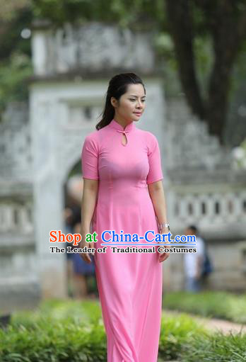 Top Grade Asian Vietnamese Traditional Dress, Vietnam National Dowager Ao Dai Dress, Vietnam Pink Stand Collar Ao Dai Cheongsam Dress and Pants for Woman