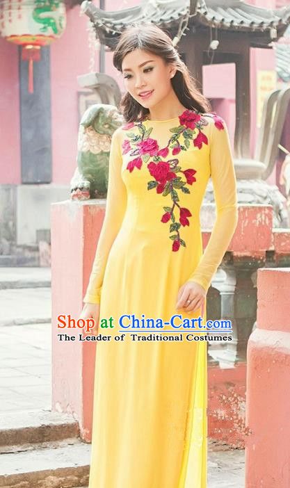 Top Grade Asian Vietnamese Traditional Dress, Vietnam National Princess Ao Dai Dress, Vietnam Yellow Embroidered Ao Dai Cheongsam Dress and Pants Complete Set for Woman