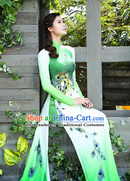 Top Grade Asian Vietnamese Traditional Dress, Vietnam National Princess Ao Dai Dress, Vietnam Green Printing Peacock Ao Dai Cheongsam Dress and Pants Clothing for Woman