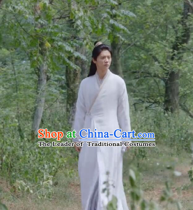 Chinese Ancient Tang Dynasty Taoist Priest Costume and Headwear, Fighter of the Destiny Traditional Chinese Ancient Taoism Swordsman Clothing Complete Set for Men