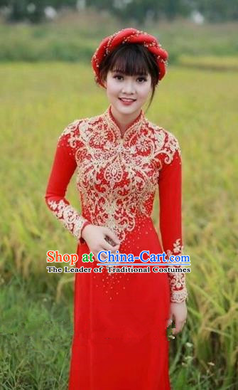 Traditional Top Grade Asian Vietnamese Costumes Dance Dress, Vietnam National Female Handmade Bride Wedding Ao Dai Dress Cheongsam Clothing for Women