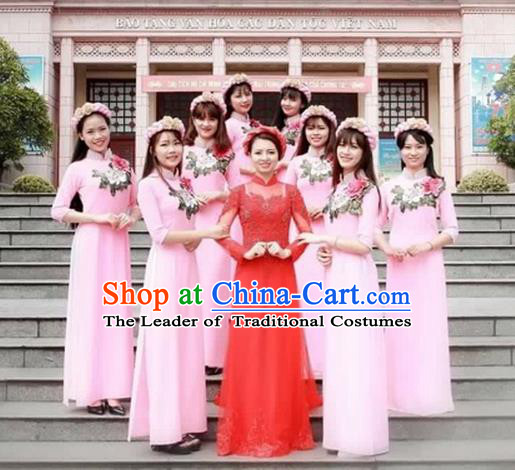 Traditional Top Grade Asian Vietnamese Costumes Dance Dress, Vietnam National Female Handmade Wedding Pink Bridesmaid Embroidered Ao Dai Dress Cheongsam Clothing for Women