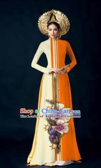 Traditional Top Grade Asian Vietnamese Costumes Dance Dress and Pants Complete Set, Vietnam National Women Ao Dai Dress Flowers Painting Orange Cheongsam Clothing