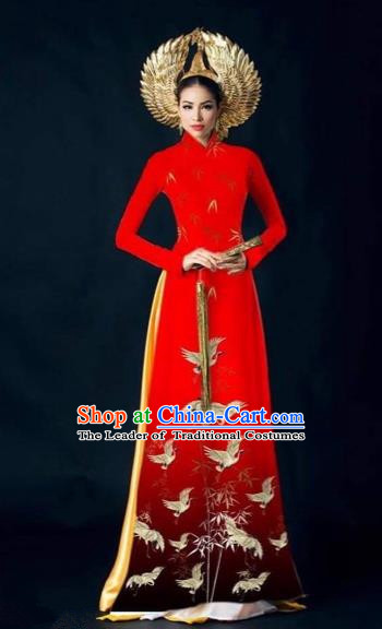 Traditional Top Grade Asian Vietnamese Costumes Dance Dress and Pants Complete Set, Vietnam National Women Ao Dai Dress Crane Painting Red Cheongsam Clothing