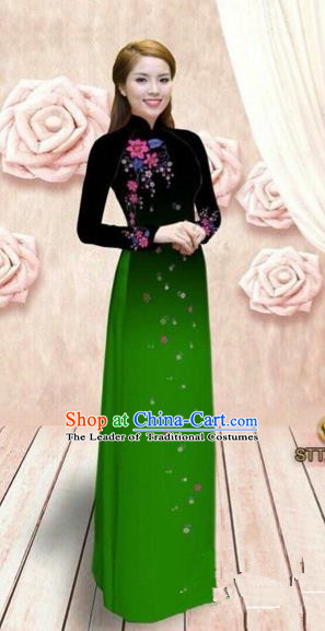 Traditional Top Grade Asian Vietnamese Costumes Dance Dress, Vietnam National Female Handmade Green Ao Dai Dress Cheongsam Clothing for Women