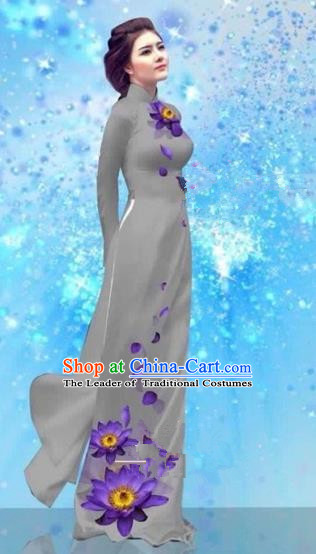 Traditional Top Grade Asian Vietnamese Costumes Dance Dress and Pants, Vietnam National Female Handmade Printing Grey Ao Dai Dress Cheongsam Clothing for Women