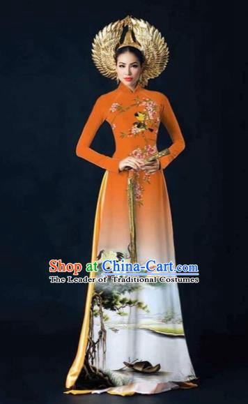 Traditional Top Grade Asian Vietnamese Costumes Dance Dress and Pants, Vietnam National Female Printing Crane Orange Ao Dai Dress Cheongsam Clothing Complete Set for Women
