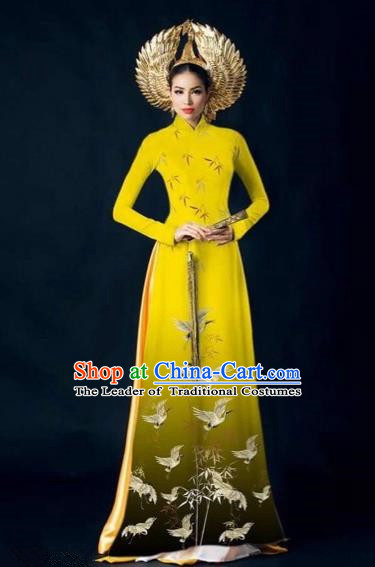 Traditional Top Grade Asian Vietnamese Costumes Dance Dress, Vietnam National Women Ao Dai Dress Printing Yellow Cheongsam Clothing