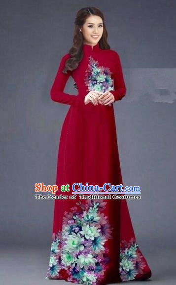 Traditional Top Grade Asian Vietnamese Costumes Dance Dress, Vietnam National Women Ao Dai Dress Printing Flowers Long Red Cheongsam Clothing
