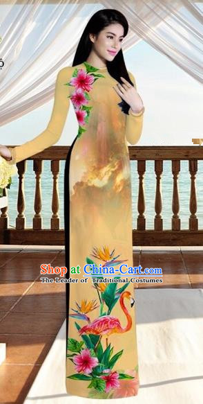 Traditional Top Grade Asian Vietnamese Costumes, Vietnam National Ao Dai Dress Printing Flowers Crane Khaki Qipao for Women
