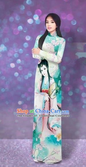 Traditional Top Grade Asian Vietnamese Costumes Classical Handmade Printing Full Dress and Pants, Vietnam National Ao Dai Dress Etiquette Qipao for Women