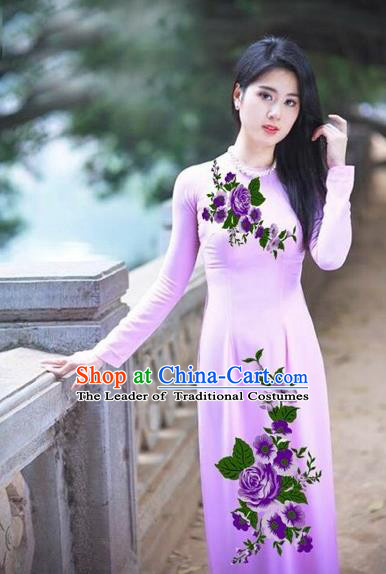 Traditional Top Grade Asian Vietnamese Costumes Classical Printing Purple Flowers Full Dress, Vietnam National Ao Dai Dress Etiquette Qipao for Women