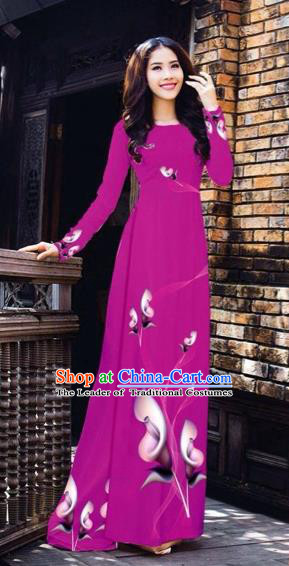 Traditional Top Grade Asian Vietnamese Costumes Classical Printing Flowers Pattern Full Dress, Vietnam National Ao Dai Dress Amaranth Etiquette Qipao for Women