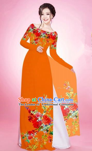 Traditional Top Grade Asian Vietnamese Costumes, Vietnam National Women Ao Dai Dress Embroidery Orange Clothing
