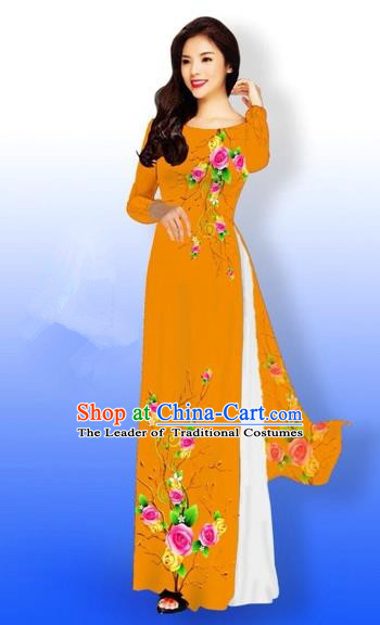 Traditional Top Grade Asian Vietnamese Costumes Full Dress, Vietnam National Ao Dai Dress Printing Rose Flowers Orange Qipao for Women