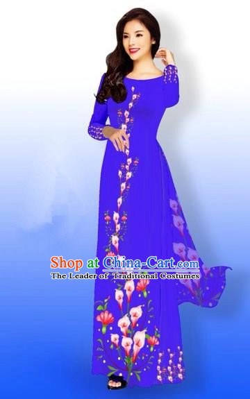 Traditional Top Grade Asian Vietnamese Costumes Full Dress, Vietnam National Ao Dai Dress Printing Flowers Blue Qipao for Women