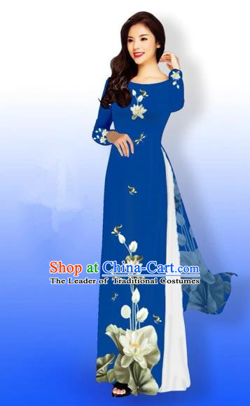 Traditional Top Grade Asian Vietnamese Costumes Full Dress, Vietnam National Ao Dai Dress Printing Flowers Round Collar Peacock Blue Qipao for Women