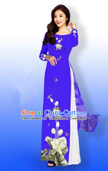 Traditional Top Grade Asian Vietnamese Costumes Full Dress, Vietnam National Ao Dai Dress Printing Flowers Round Collar Blue Qipao for Women
