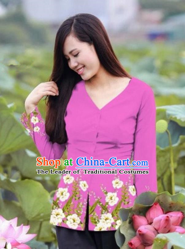 Traditional Top Grade Asian Vietnamese Costumes, Vietnam National Ao Dai Printing Pink Blouse for Women