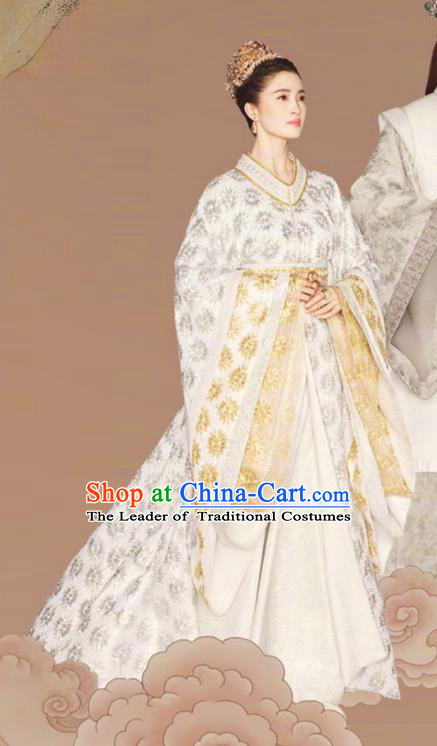 Chinese Ancient Tang Dynasty Imperial Consort Costume and Headwear, Fighter of the Destiny Chinese Ancient Rani Tailing Embroidered Clothing Complete Set