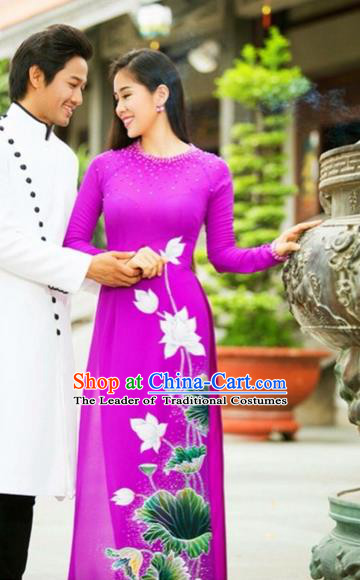 Traditional Top Grade Asian Vietnamese Costumes Classical Printing Wedding Full Dress, Vietnam National Ao Dai Dress Rosy Bride Qipao for Women